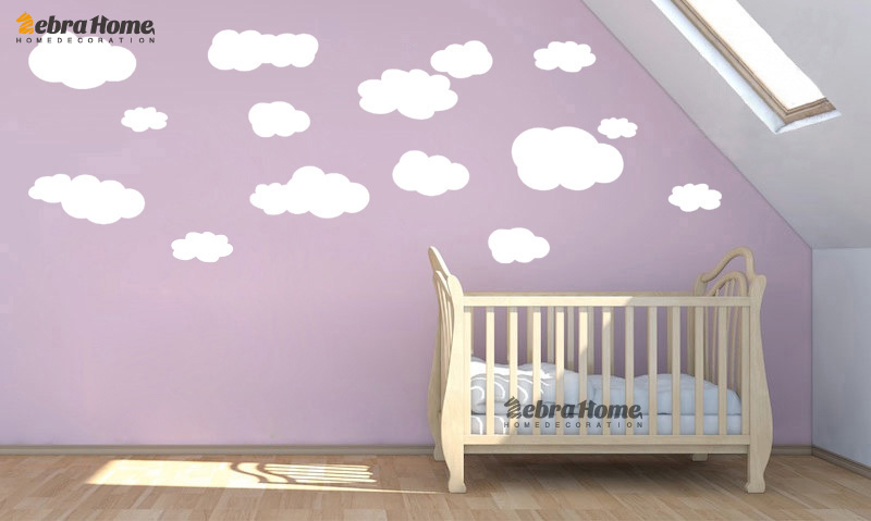 Babykamer Behang Stickers : Stks wit cloud vinyl muurstickers decal kwekerij kinderen kids