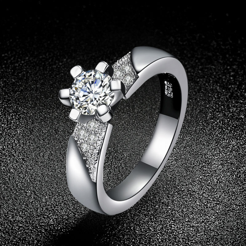 Romantic CZ Diamond jewelry Women Silver Rings with 925 stamp Elegant Wedding engagement bague for lady