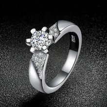 Romántica joyería de Las Mujeres Anillos de Plata CZ Diamond con sello 925 Elegante de La Boda de compromiso bague para señora Bijoux R53