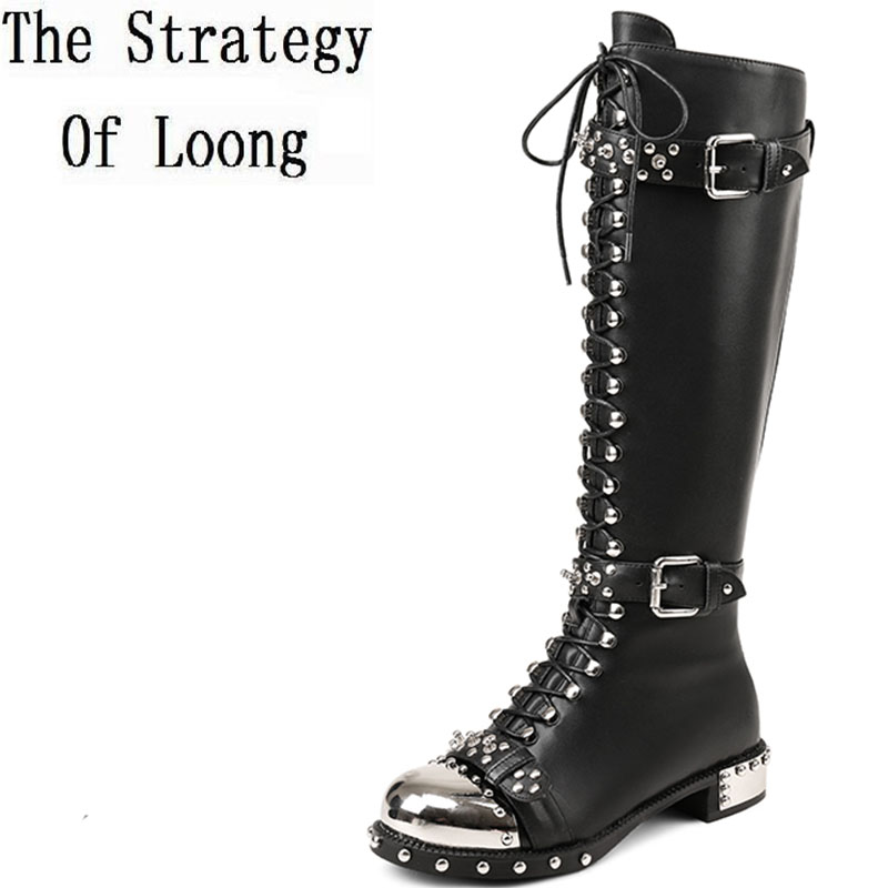 2019 New Cow Leather Short Plush Rviet Winter Zip Flat Boots Women Spring Autumn Metal Decoration