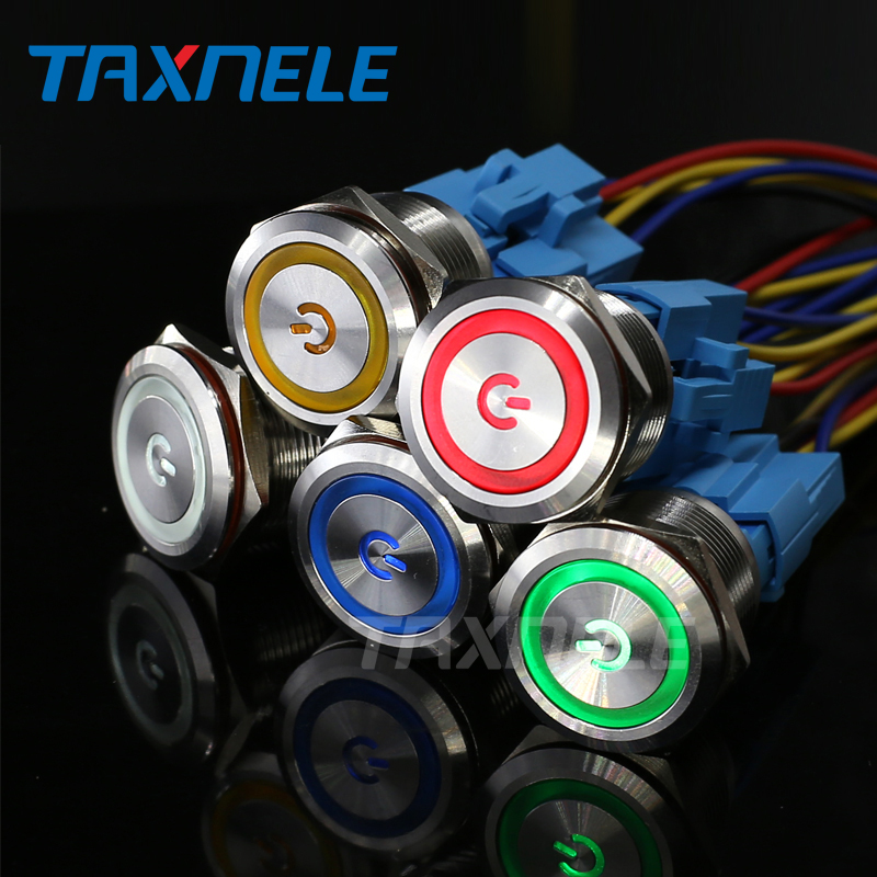 <font><b>22mm</b></font> Metal annular Push Button <font><b>Switch</b></font> <font><b>LED</b></font> Light Lamp Illumination 12V 24V 220V Momentary Latching Car Power Signal lamp <font><b>Switches</b></font> image