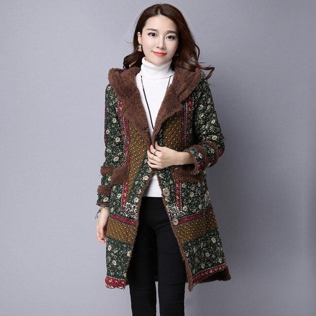 Женская одежда С Капюшоном Пальто Высокого Класса Slim-типа Длинное Пальто Толстые Теплые Однобортный Шинель Классический Небольшой цветочный Узор