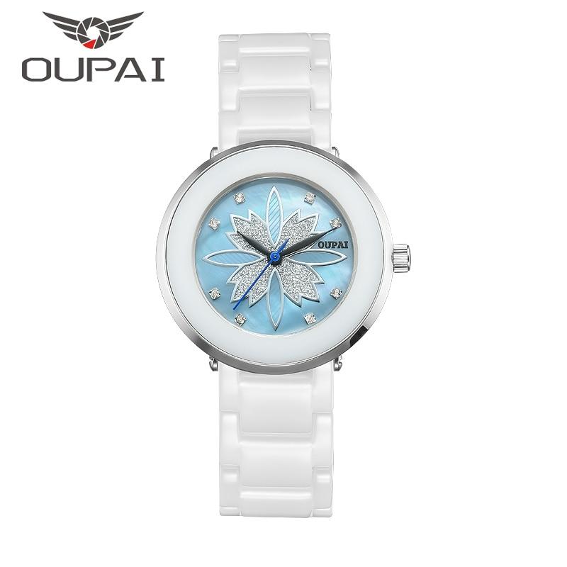 OUPAI keramik kvinna klocka Lucky Clover Shell ansikte design mode diamant dam klockor Quartz keramiska klocka armband för kvinnor