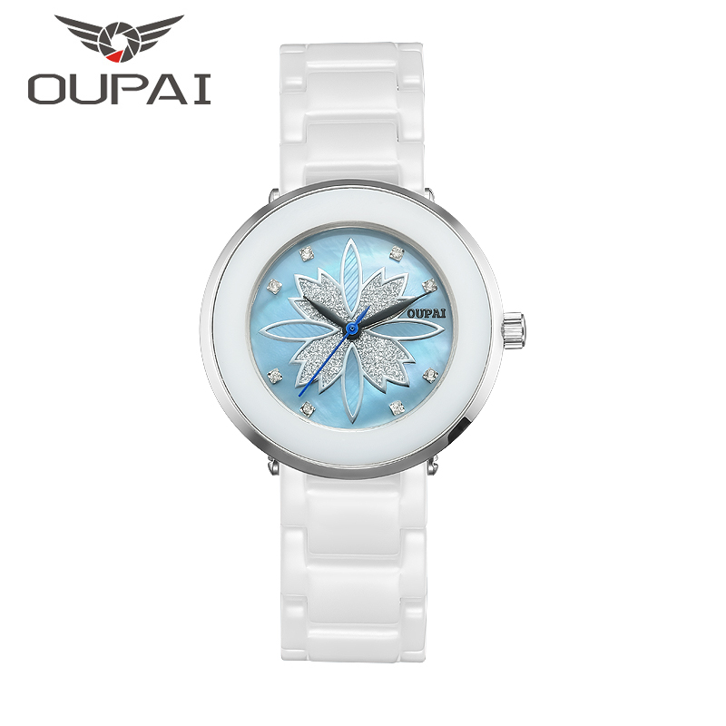 OUPAI κεραμικά ρολόι γυναικών Lucky Clover Shell προσώπου μόδα σχεδιασμού ρολογιών κυρίες ρολόι Quartz κεραμικό βραχιόλι ρολόι για τις γυναίκες