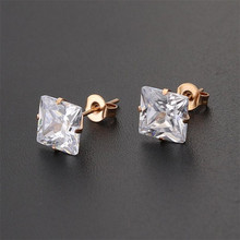 Shi45 316 L Stainless Steel 3mm to 8mm Square Clean Zircons Stud Earrings Vacuum Plating No Easy Fade Allergy Free Classic Style
