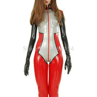 Latex Catsuit Uniform Women Rubber Bodysuit Fetish Cosplay Costumes with Gloves and Socks LC250