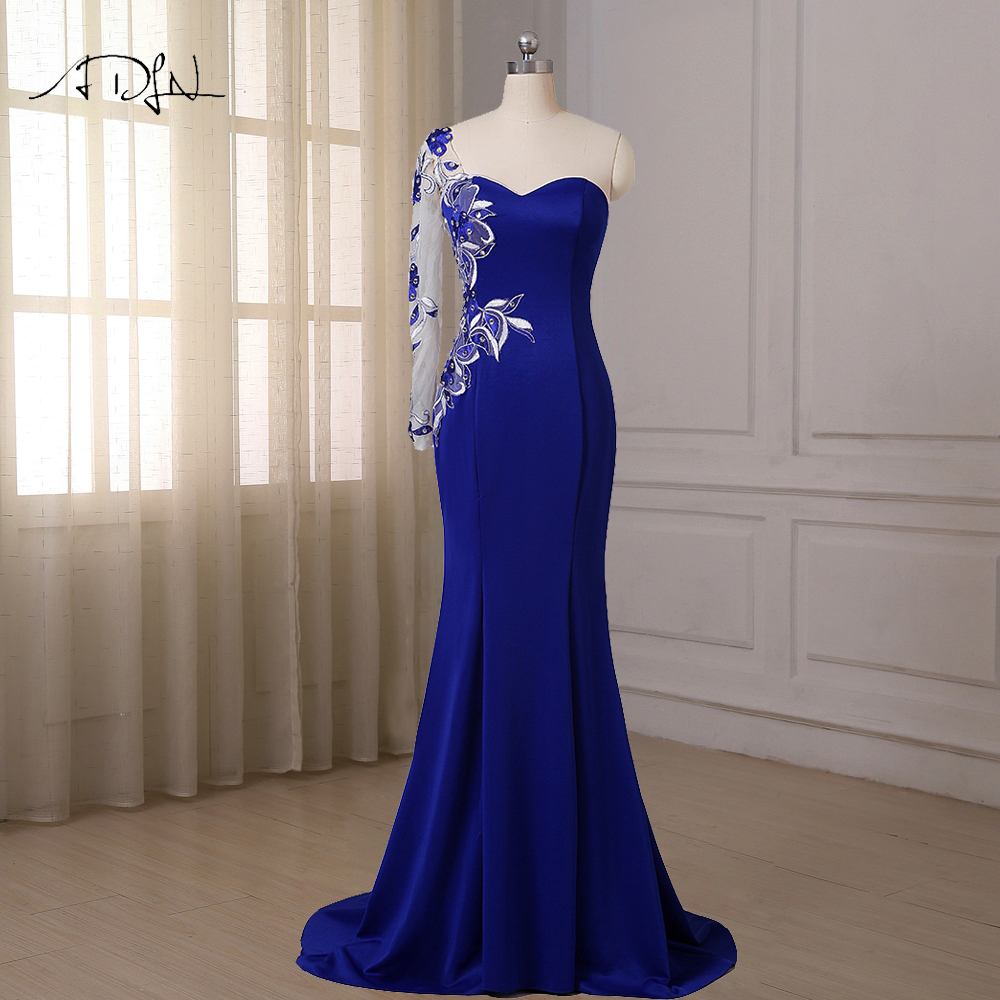 ADLN Royal Blue Mermaid Evening Dresses One Long Sleeve Sweep Train Applique Crystals Formal Dress Slim Plus Size In Stock