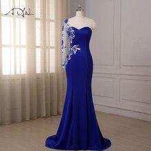ADLN Королевский синий Русалка Вечерние платья один длинный рукав развертки Поезд аппликация Кристаллы формальное платье стройного размера плюс