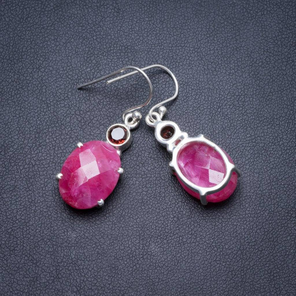 Natural Cherry Ruby and Garnet Handmade Unique 925 Sterling Silver Earrings 1.5 Y2542 : 91lifestyle