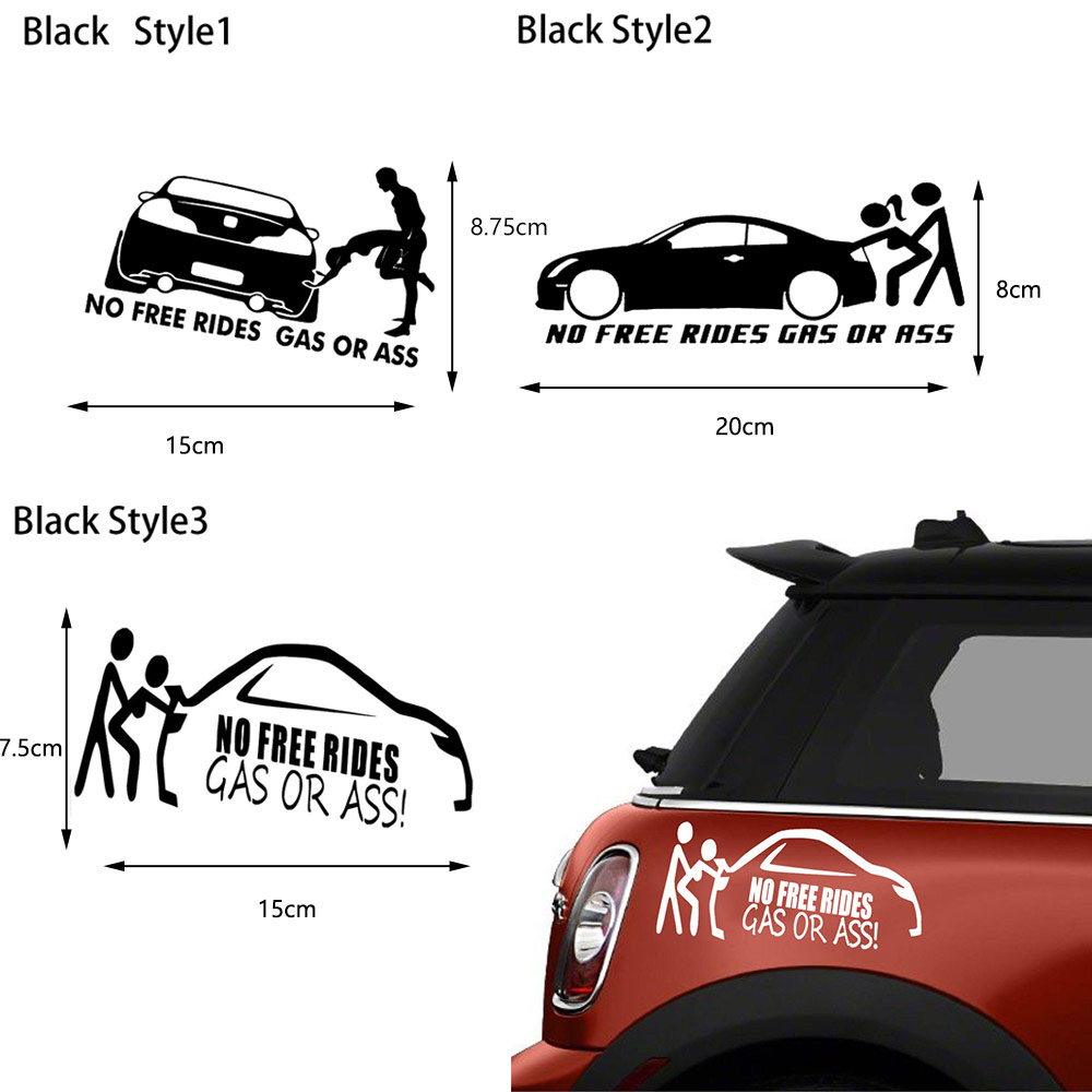 JMD OEM Shocker Auto Fun Car Sticker No Free Rides Gas or Ass