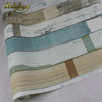 Wallpaper Rustic Wood Scrap Wood Reclaimed Wood Wallpaper Natural Beige Blue Striped Wood Wallpaper PVC Vinyl