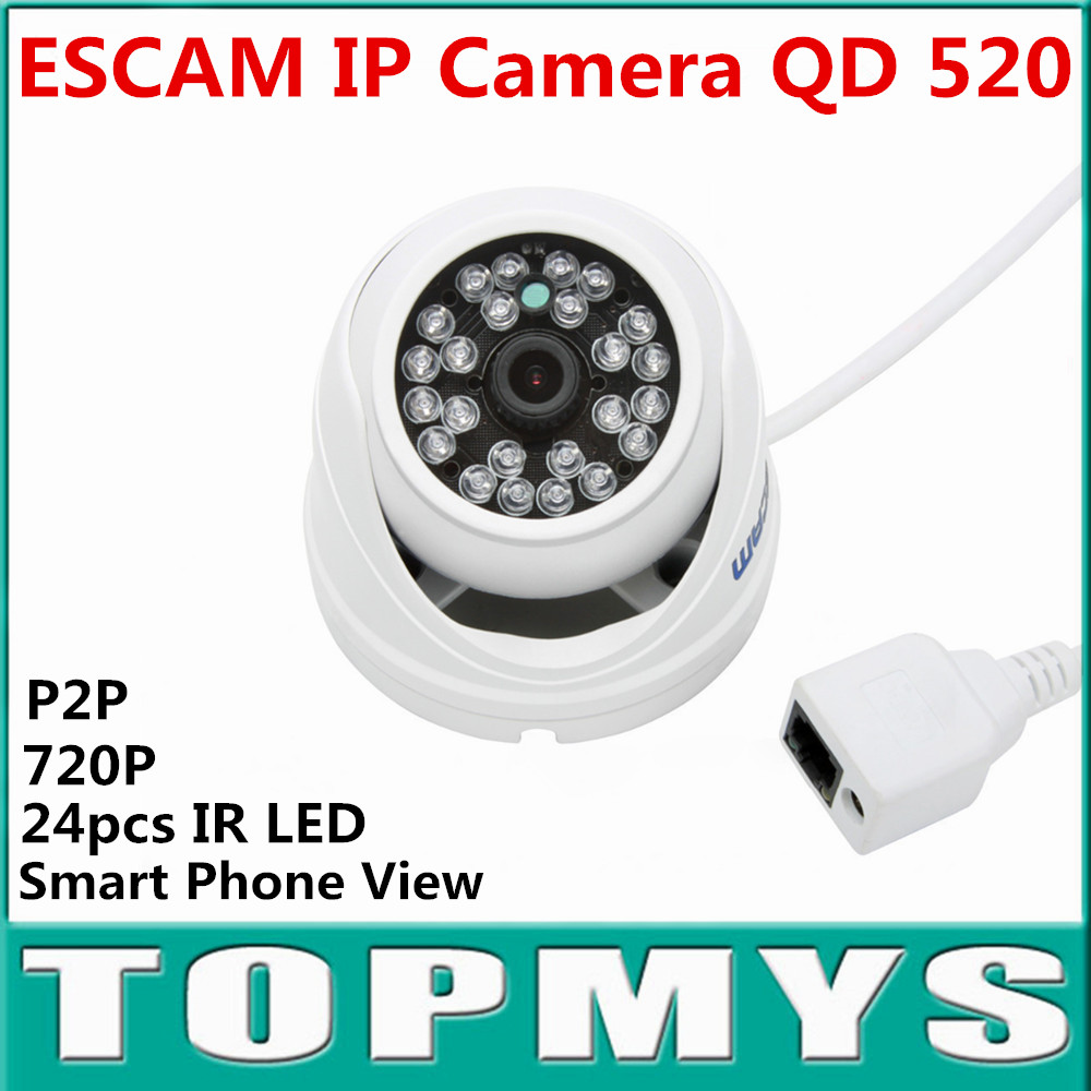 ESCAM HD 720P P2P Peashooter Appearance Dome IP Camera QD-520 ONIVF CCTV Camera Home Security Smart Phone View 24pcs IR LED escam p2p dome ip camera onivf home security cctv smart phone view