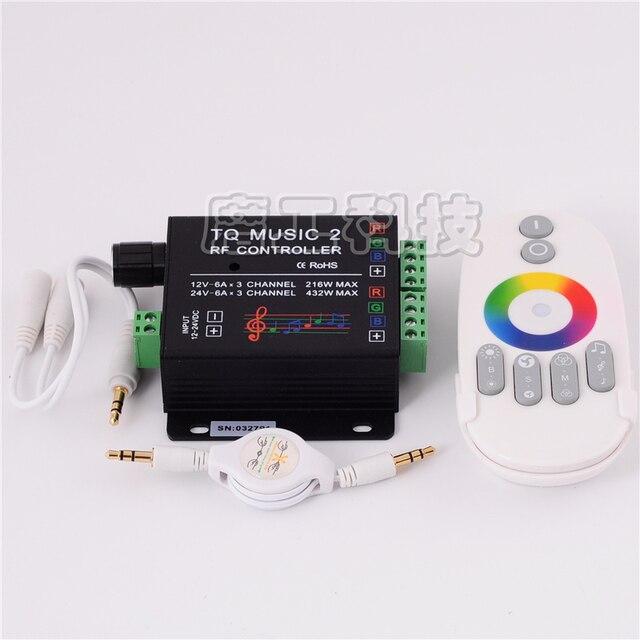 Commande Audio avec télécommande sans fil RF, musique pour bande LED LED de contrôle, 5050, 3528, 5630, 2 canaux RGB, DC 12 24V 18A