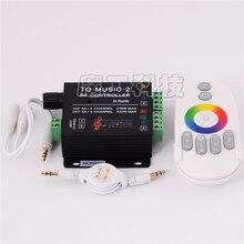 DC 12 24V 18A מוסיקה 2 2CH RGB LED בקר בקרת שמע עם RF אלחוטי מרחוק מוסיקה עבור 5050 3528 5630 LED הרצועה
