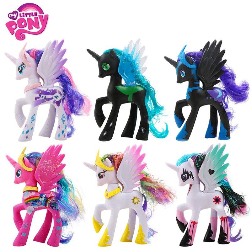 14 cm de mi pequeño Pony juguetes de la princesa Celestia Luna Pinkie Pie, Rainbow Dash de PVC figura de acción modelo de recogida muñeca para chica