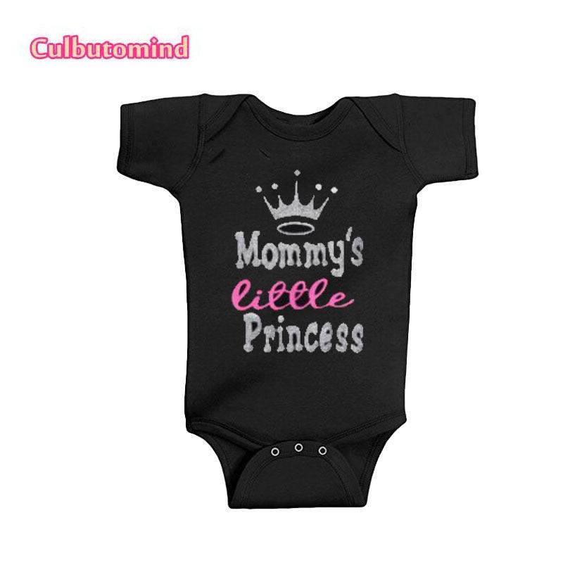 Culbutomind новорожденного одежда 2018 лето унисекс для мальчиков и девочек мамы маленькая принцесса черный, Белый Цвет Детские Боди Наряд