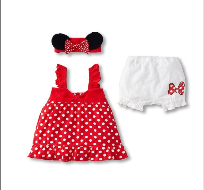 Lovely Baby Girl 3 Piece Suit Mouse Ears Headband Polka Dot
