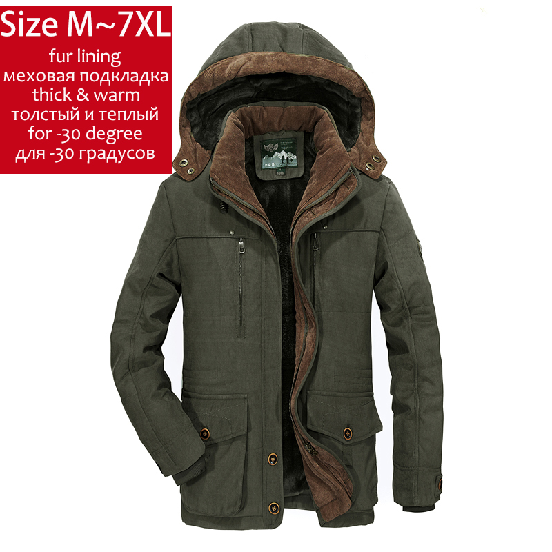 YIHUAHOO Winter Jacket Men 5XL 6XL Thick Warm   Parka   Fleece Fur Hooded Military Jacket Coat Multi-Pockets Windbreaker Jacket Men