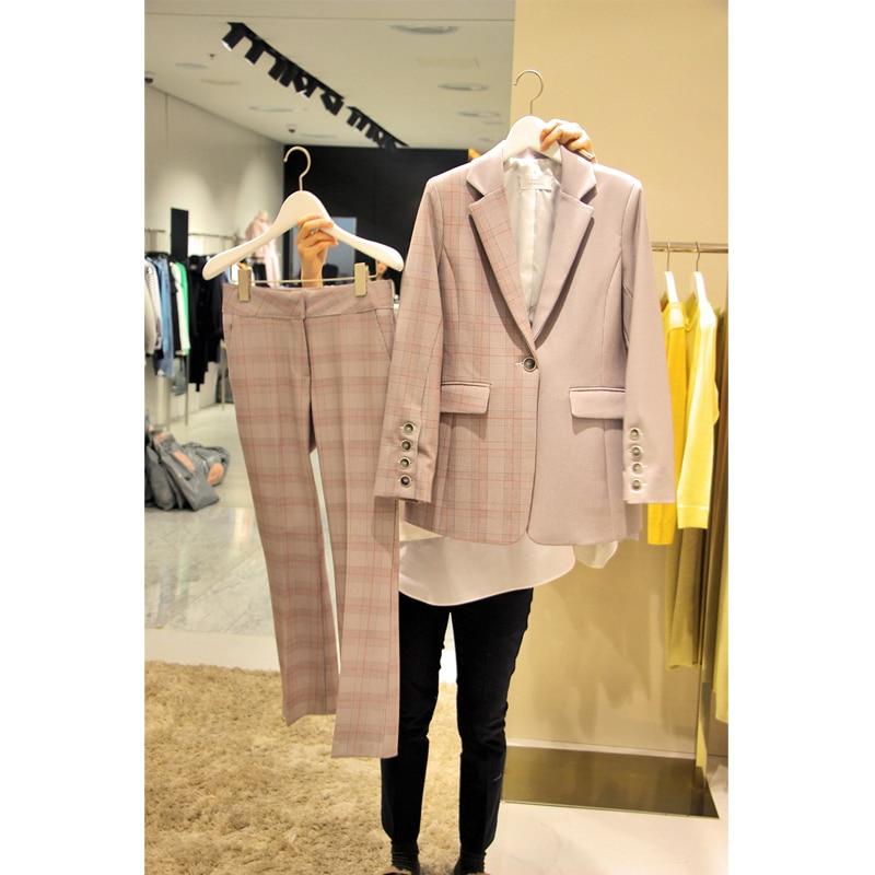 New Spring Autumn Fashion Women's Sets Color Block Plaid Blazers Jackets + Slim Ultra Long Pants Pink Feminine Pants Suits