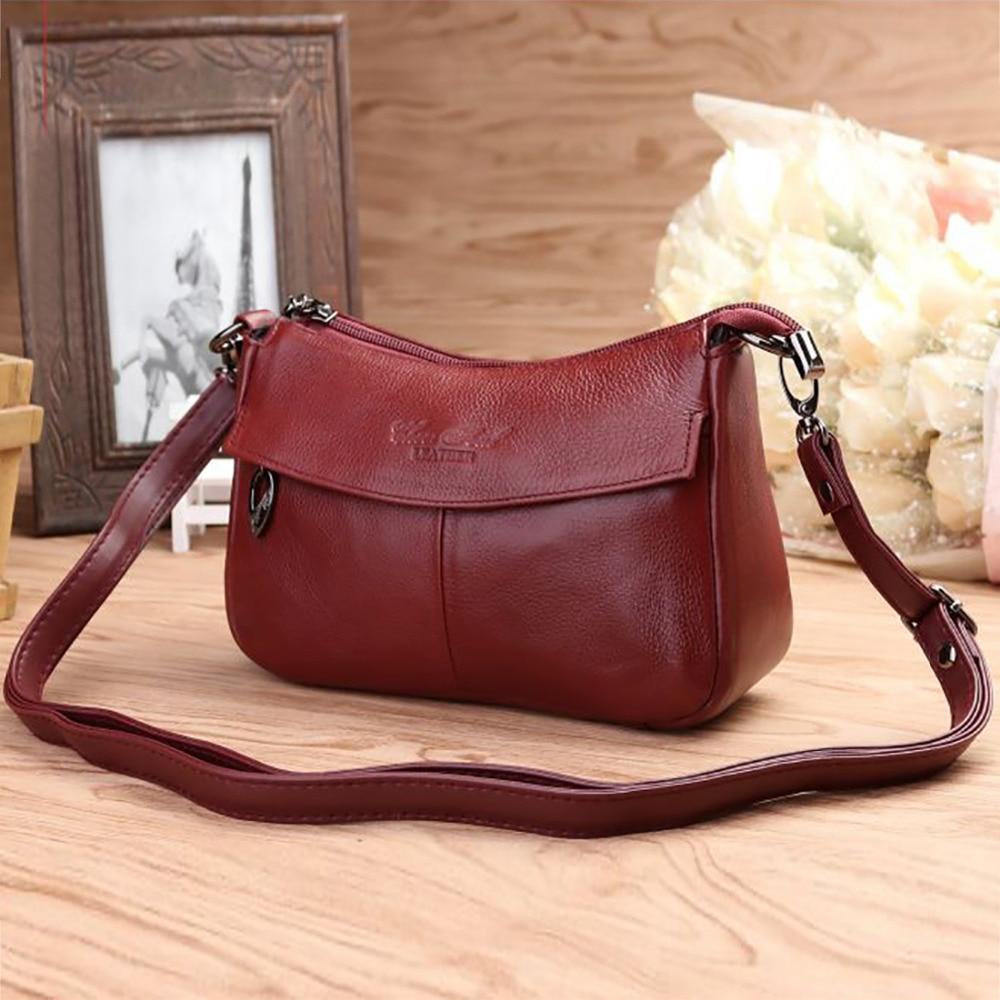 NEW Genuine Cowhide Leather Women Messenger Shoulder Bag High Quality Shopping Female Tote Handbag Ladies Fashion Crossbody Bags