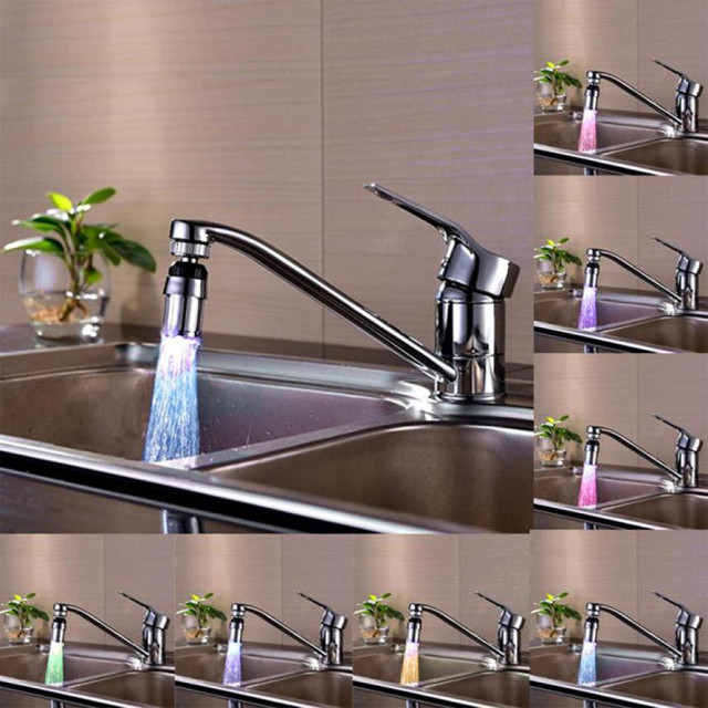 Kitchen Sink 7Color Change Water Glow Water Stream Shower LED Faucet ...