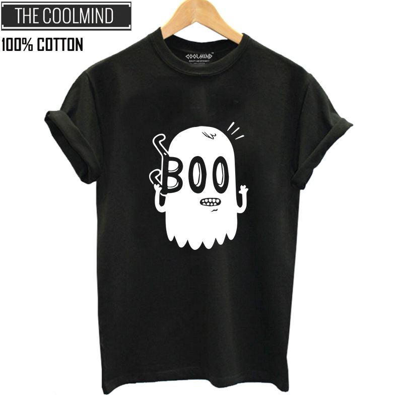 COOLMIND 100% cotton summer cool boo print women T shirt casual short sleeve o-neck T-shirt women cool fashion tshirt female