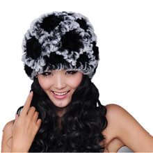 Real fur caps for women winter fall warm knitted natural rex rabbit hats thicken black gray white beanies H108