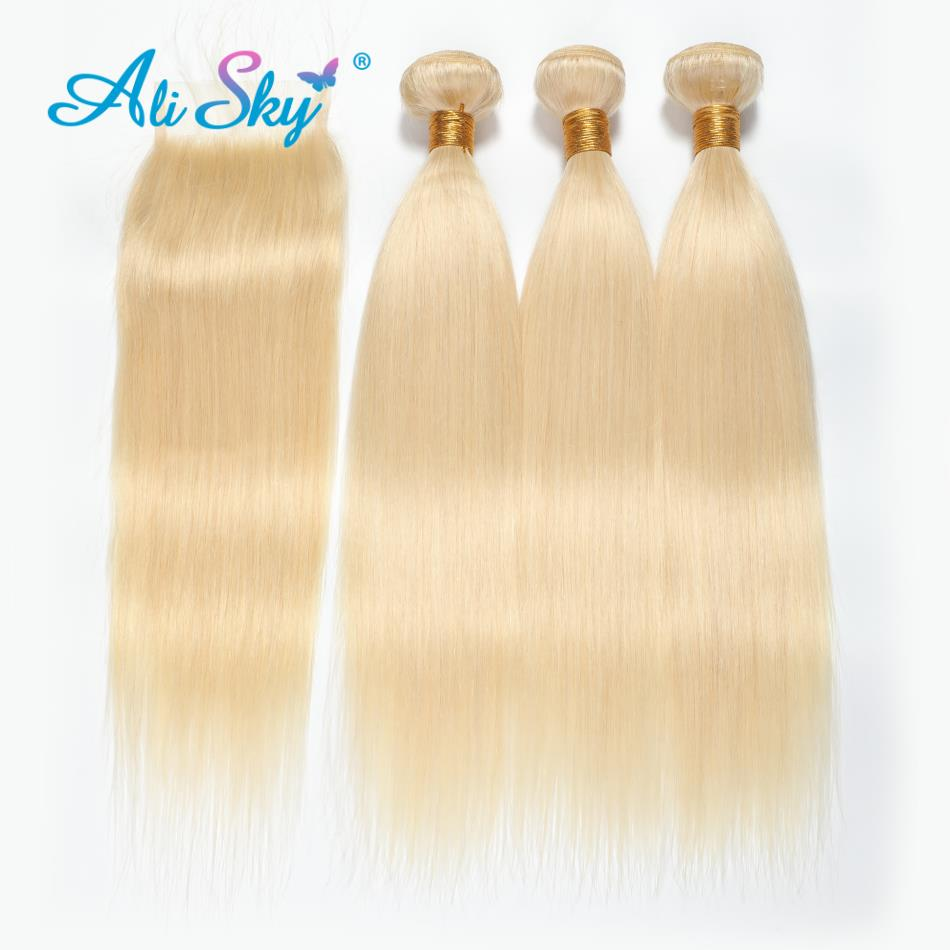 Ali Sky Hair 613 Blonde Bundles Brazilian Hair Straight Human Hair Weaves 10 24inch Blonde Remy Hair Extensions   Free Shipping-in 3/4 Bundles with Closure from Hair Extensions & Wigs    3