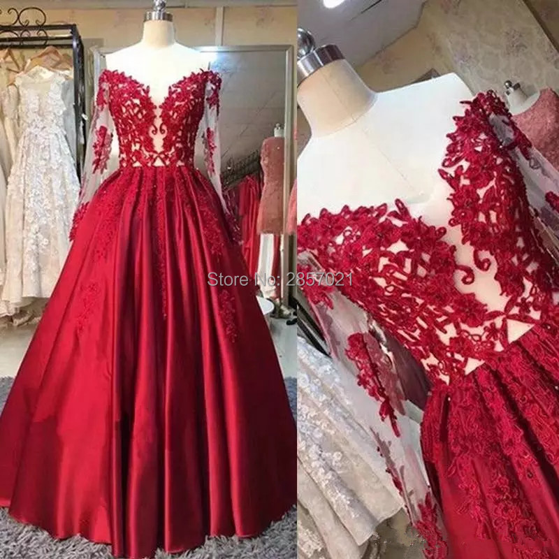 Red Satin Long Sleeve   Evening     Dress   Off Shoulder A-Line Lace Appliques Formal Prom   Dresses   Beaded V-Neck Plus Size Party