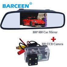 170 градусов ccd hd изображение сзади автомобиля камера заднего вида 4 led дисплей автомобиля зеркало для Peugeot 206/207/407/307 (Седан)/307SM