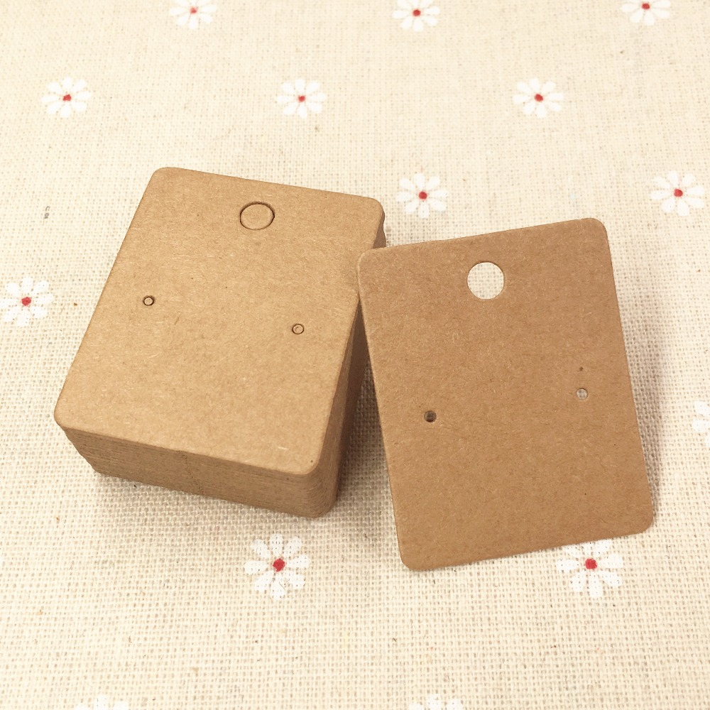 200pcs/lot  5*4cm Kraft Paper Earring Cards Blank Jewelry Packing Cards Brown Earring Display Cards Jewelry Price Tags