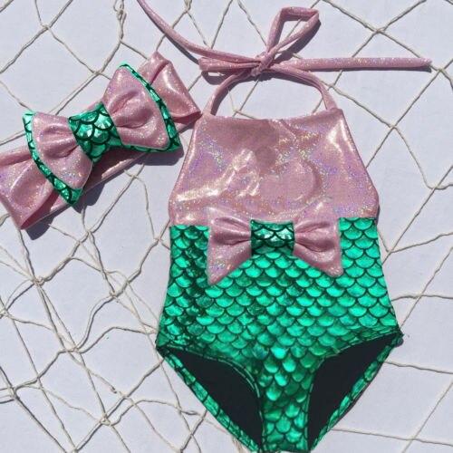 ec85fad900 Cute Princess Kids Baby Girl Mermaid Swimwear Halter Bowknot Bikini  Swimsuit Swimming Swimmable Bathing Suit Beachwear-in Swimwear from Mother    Kids on ...