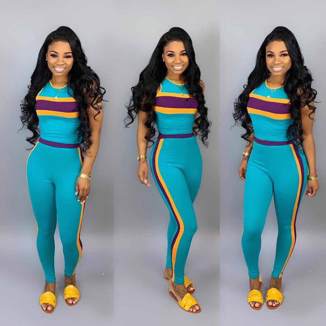 2019 Women's Summer Tank Top Tee Pencil Pants Suit 2 Piece Sport Set Tracksuit Active Wear Suit 3 Color M6161