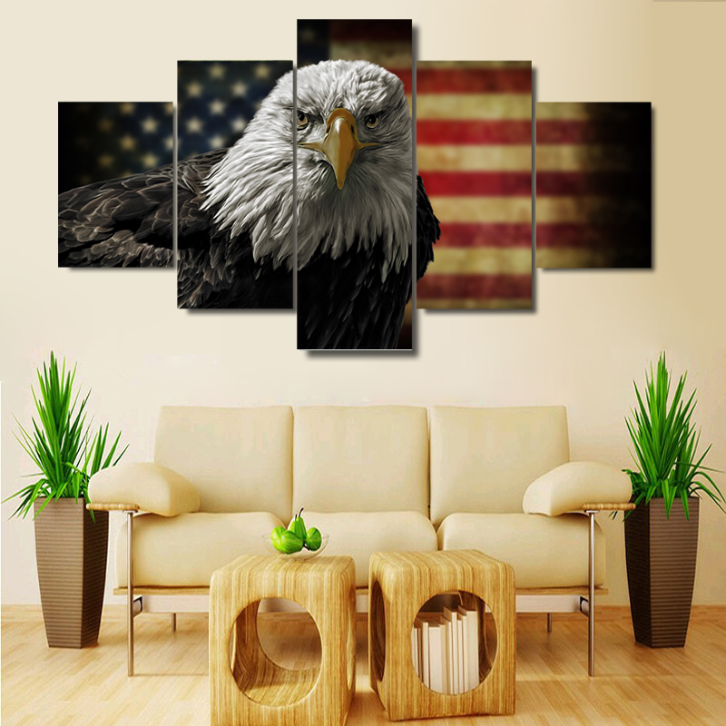 Modern Living Room Canvas Art Paint Ideas With Wood Floors 5 Pieces American Flag Eagle Wall Picture Home ...
