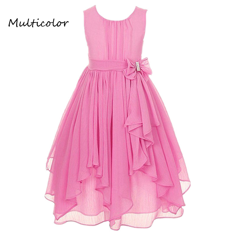 Princess Girls O-neck Sleeveless Spring Summer Wedding Dresses Floral Bow Gown Party Dresses Daily Dress For Children 2-12 years summer princess o neck embroidery bow clothes children girls crown print dresses wholesale sleeveless boutique clothing 5pcs lot
