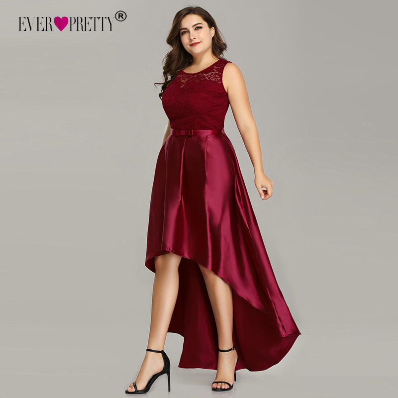 Plus Size Cocktail Dresses Ever Pretty Elegant Lace A-line Sleeveless High Low Burgundy Satin Short Party Dresses With Sashes(China)