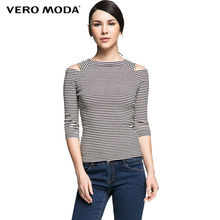 Vero Moda Brand Women sexy off shoulder comfortable stripe printed casual T-shirt ladies three quarter chic tops 315130006