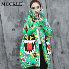 MCCKLE Women's Middle Long Parkas 2018 Winter Female Harajuku Fashion Outwears Ladies Cartoon Printed Padded Hooded Loose Coats(China)