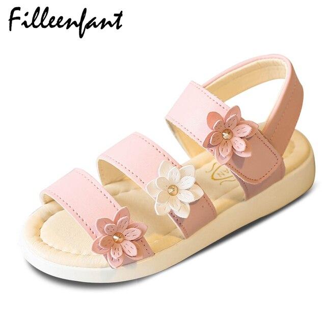 30088759be7 Soft Leather Toddler Girls Gladiator Sandals Summer Children Shoes Girls  Sandals Flower Baby Girls Shoes Princess