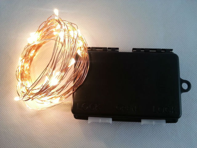 6m 60 led 3aa outdoor battery powered timer led copper wire string