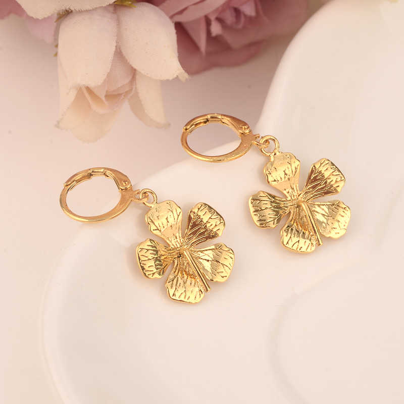 2 pares de pendientes de gota de flores etíope/Nigeria/Kenia/Ghana color dorado dubaiárabe africano árabe joyería de Medio Oriente mamá regalos