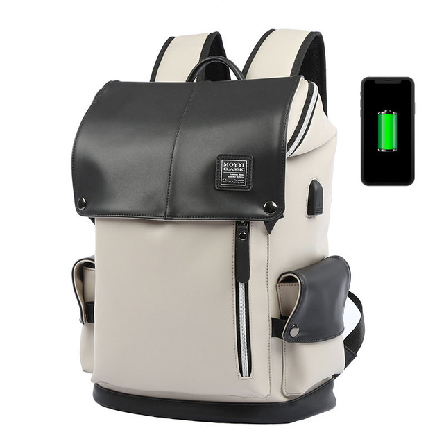 Man Backpack PU Leather USB Recharging Laptop School BaG Male Waterproof Travel Multi-color backpack Fashion Casual Quality Bag