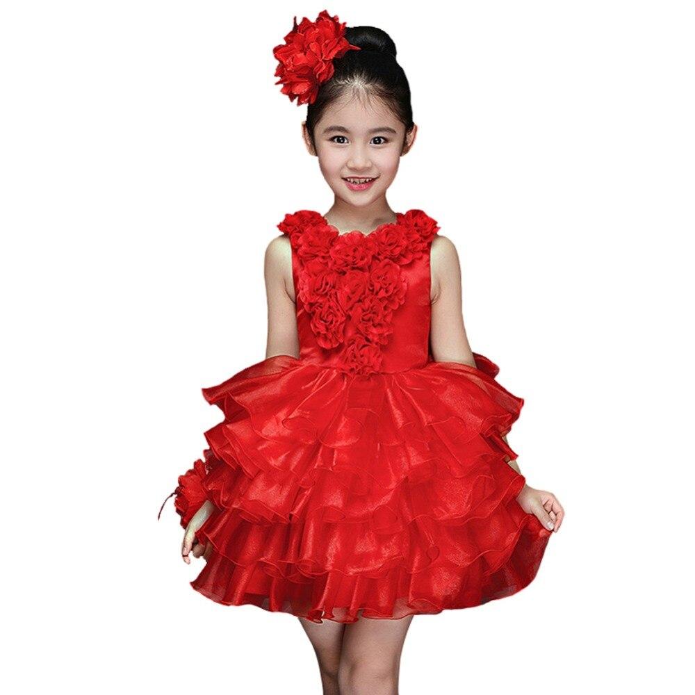 Children Girls Princess Wedding Dress Ruffle Floral Gown Flower Tutu Dress with Headflower все цены