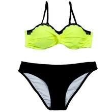 Lace Patchwork Bikini Sexy Plus Size Push Up Swimwear Women Bathing Suit Solid Bikini Set 2019 New Swimsuit XXL grommet lace up solid bikini set