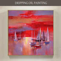 New Design Artist Hand-painted Special Landscape Boats Oil Painting on Canvas Abstract Sunset Red Sky Oil Painting for Bed Room