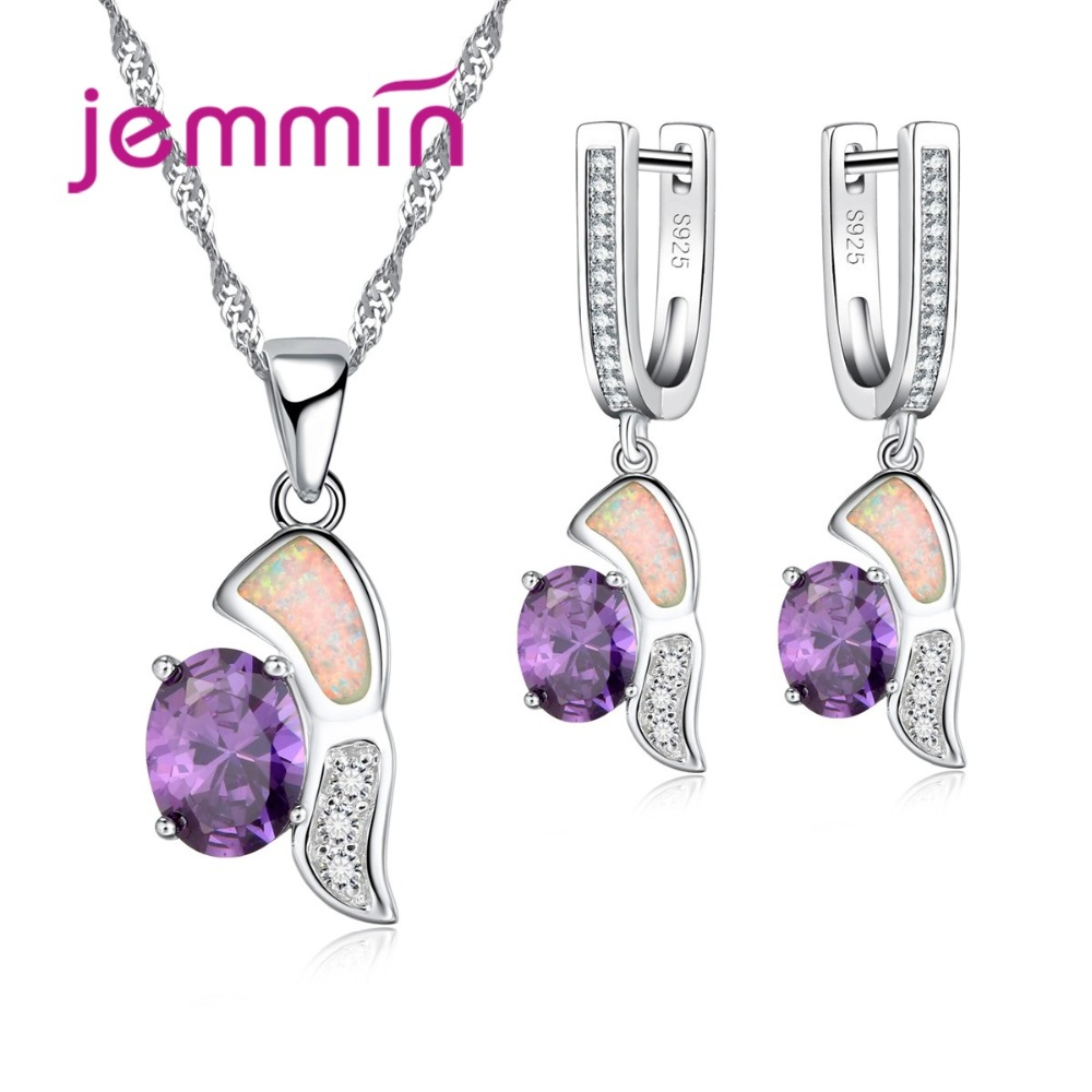 Jemmin Origial Design Fine Austrian Crystal Pendant Necklaces Dangle Earrings Set For Wedding Women925 Silver Opal Jewelry Sets ...