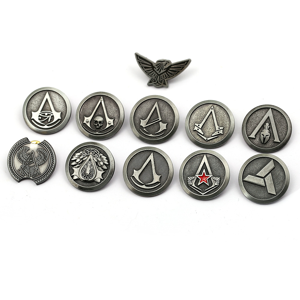 AC Brooch Odyssey Shirt ASS Retro Badges Silver Brooches for Men Gift emblem