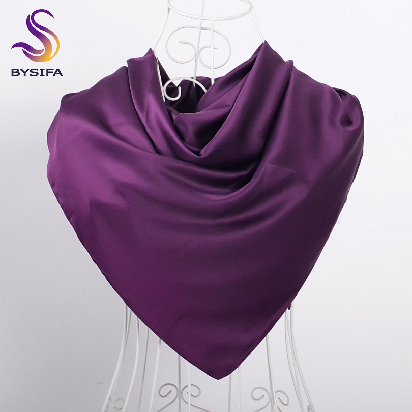 [BYSIFA] Women Scarves Wraps Bufandas Luxury Brand Ladies Matt Muslim Deep Purple Head Scarf Spring Autumn Matt Satin Scarf Cape