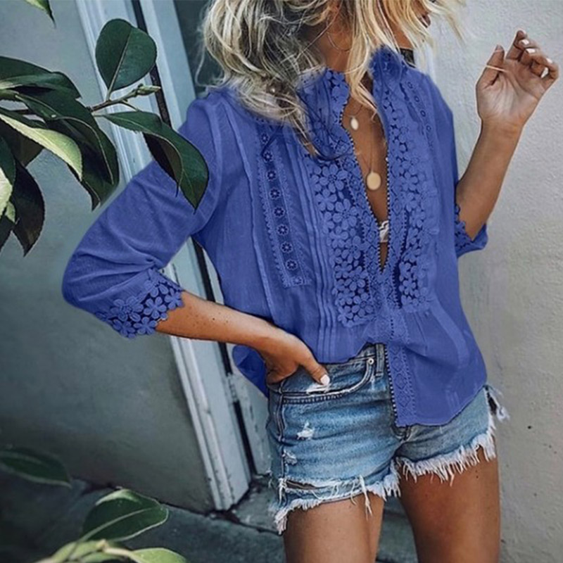 Office Lady Lace Floral Patchwork Womens Blouse Pink Boho Casual Sweet Girl Female Shirt 2019 Spring Summer Women Top Plus Size