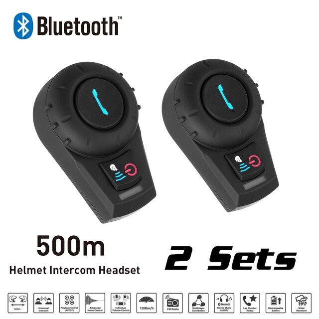 Motocicleta Interphone 2 Sets 500 M BT Bluetooth Radio FM Motocicleta intercomunicador Intercomunicador Del Casco de Auriculares para el Teléfono/GPS/MP3
